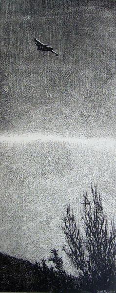 Judith Marin Feu peinture acrylique sur toile noir et blanc canadair