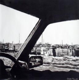 Judith Marin Gerhard's hand peinture vinylique et pigments sur toile en noir et blanc paysage d'Afrique du Sud