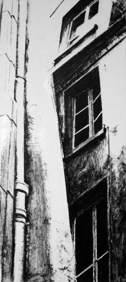 Judith Marin Gouttière peinture vinylique et pigments zn noir et blanc sur toile Paris