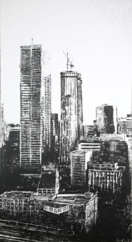 Judith Marin Montréal Trust peinture acrylique sur toile noir et blanc Montréal photographie de Burtynsky Canada