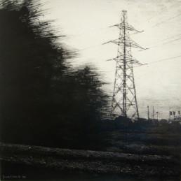 Judith Marin Pylône peinture acrylique sur toile en noir et blanc