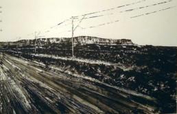 Judith Marin La Route peinture acrylique sur papier des montagnes du Drakkensberg en Afrique du Sud