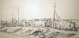 Judith Marin Township blanc ? peinture acrylique sur papier d'un township Afrique du Sud