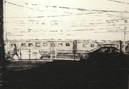 Judith Marin Le Train peinture acrylique sur papier Yellow Train Cape Town South Africa