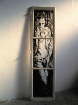 Judith Marin Lino fenêtre parisienne peinture acrylique sur verre