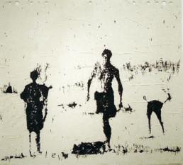 Judith Marin Trois Hommes peinture acrylique sur papier