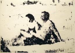 Judith Marin Le Couple sur la plage peinture acrylique sur papier