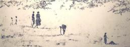 Judith Marin Promenade peinture acrylique sur papier plage