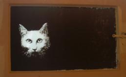 Judith Marin Max et les maximonstres fenêtre peinte en acrylique noir sur verre