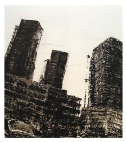 Judith Marin Trois Tours peinture acrylique sur papier de Rotterdam