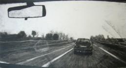 Judith Marin Après la pluie peinture acrylique noir et blanc sur toile route