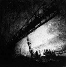 Judith Marin Factory I peinture vinylique et pigments sur toile en noir et blanc inspiré d'une photographie de Michael Kenna (The Rouge, study1, Deaborn Michigan USA 1992)