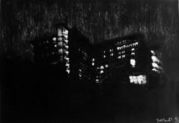 Judith Marin Hamstead Heath peinture vinylique et pigments sur toile en noir et blanc Londre