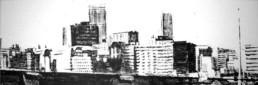 Judith Marin Jo'burg peinture acrylique sur toile noir et blanc de Johannesburg South Africa
