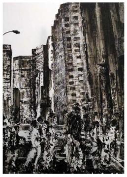 Judith Marn La Foule peinture acrylique sur papier New York