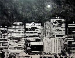 Judith Marin Lune Vancouver peinture acrylique noir et blanc sur toile de Vancouver