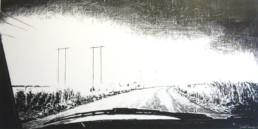 Judith Marin Mercedes peinture acrylique sur toile noir et blanc route en Afrique du Sud