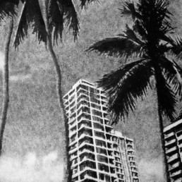 Judith Marin Miami peinture vinylique et pigments sur toile en noir et blanc