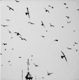 Judith Marin Oiseaux IX peinture vinylique sur toile oiseaux Venise