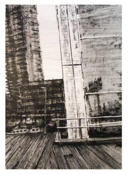 Judith Marin Péniche peinture acrylique sur papier de Rotterdam