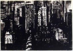 Judith Marin Plein Centre peinture acrylique sur papier vue aérienne de New York