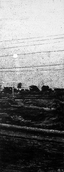 Judith Marin XX peinture vinylique sur toile noir et blanc pigments route