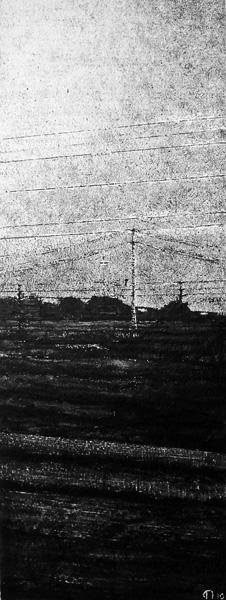Judith Marin XY peinture vinylique sur toile noir et blanc pigments route