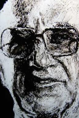 Judith Marin Milton, Augusto, Hugh et les autres triptyque de fenêtres peintes en noir et blanc Friedman Pinochet Monsanto théorie du choc Naomi Klein
