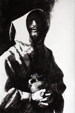Judith Marin François Réau peinture à quatre mains Le Fils étape 1 inspiré de Zurbaran