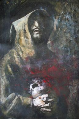 Judith Marin François Réau peinture à quatre mains Le Fils étape 2 inspiré de Zurbaran