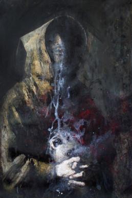 Judith Marin François Réau peinture à quatre mains Le Fils étape 3 inspiré de Zurbaran