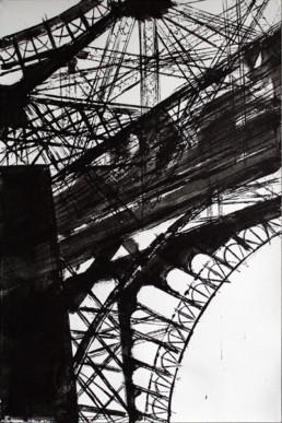 Judith Marin François Réau Le Père étape 1 peinture acrylique et vinylique sur toile à quatre mains Tour Eiffel