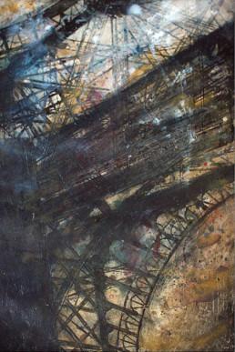 Judith Marin François Réau Le Père étape 2 peinture acrylique et vinylique sur toile à quatre mains Tour Eiffel