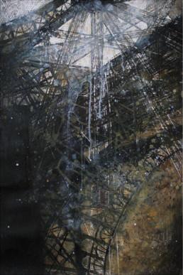 Judith Marin François Réau Le Père étape 3 peinture acrylique et vinylique sur toile à quatre mains Tour Eiffel
