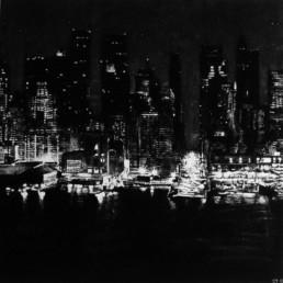 Judith Marin City peinture vinylique et pigments noir et blanc sur toile inspirée d'une photographie de Michael Kenna de New York