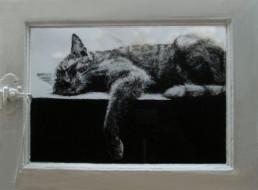Judith Marin Le grand sommeil - peinture sur fenêtre acrylique sur verre