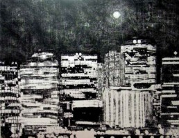 Judith Marin Lune Vancouver peinture acrylique noir et blanc sur toile de Vancouver Canada