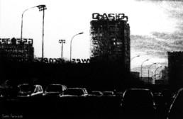 Judith Marin Periph extérieur peinture vinylique sur toile en noir et blanc Paris