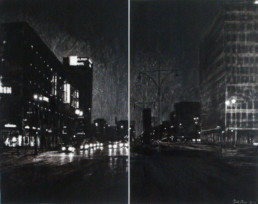 Judith Marin Berlin Sharp diptyque peinture vinylique noir et blanc sur toile Berlin Allemagne