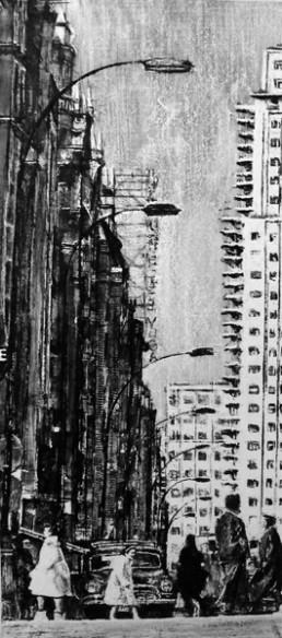 Judith Marin Madrid - izquierda - peinture vinylique sur toile noir et blanc