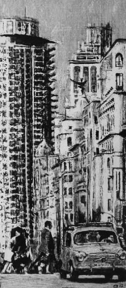Judith Marin Judith Marin Madrid (derecha) - peinture vinylique sur toile noir et blanc