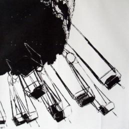 Judith Marin Manège peinture vinylique et pigments sur toile