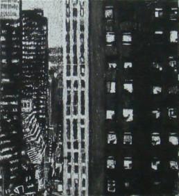 Judith Marin Midtown Twilight peinture acrylique et pigments noir et blanc sur toile inspirée d'une photographie de New York de Michael Kenna