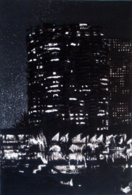 Judith Marin Pont de Grenelle peinture vinylique sur toile noir et blanc inspirée d'une photo de Jean-Hugues Herskovits