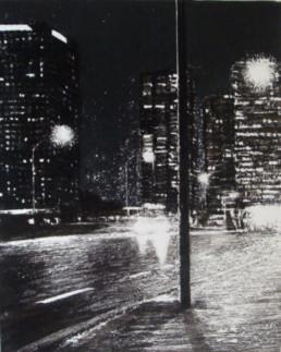 Judith Marin Pont de Grenelle peinture vinylique noir et blanc sur toile inspirée d'une photo de Jean-Hugues Herskovits