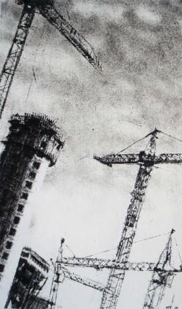 Judith Marin Grues peinture vinylique noir et blanc sur toile