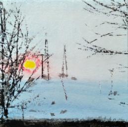Judith Marin peinture vinylique et pigments sur toile paysage enneigé