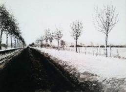 Judith Marin Lulu peinture vinylique et pigments noir et blanc sur toile