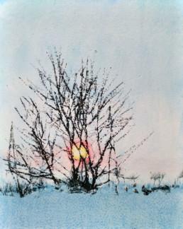 Judith Marin Marianne peinture vinylique et pigments sur toile paysage enneigé