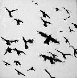 Judith Marin Oiseaux peinture acrylique sur toile noir et blanc